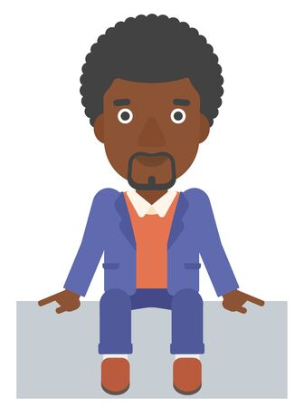 fullbody: An african-american man sitting vector flat design illustration isolated on white background.