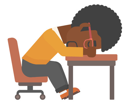 An african-american man sleeping on table vector flat design illustration isolated on white background. Illustration