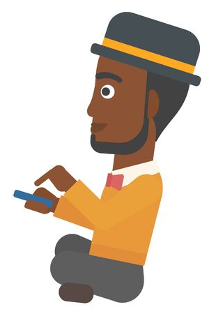 An african-american man using mobile phone vector flat design illustration isolated on white background.