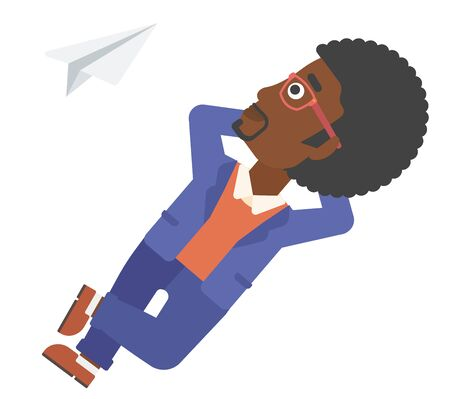 flying paper: An african-american man lying on a cloud and looking at flying paper plane vector flat design illustration isolated on white background. Illustration