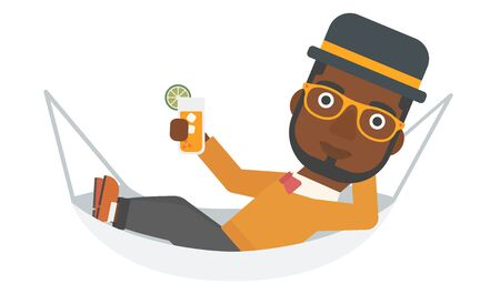 lying in: An african-american man lying in a hammock and holding a cocktail  vector flat design illustration isolated on white background.