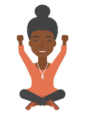legs up: An african-american woman sitting with crossed legs and raised hands up vector flat design illustration isolated on white background.