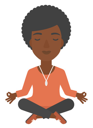 An african-american business woman meditating in lotus pose vector flat design illustration isolated on white background.