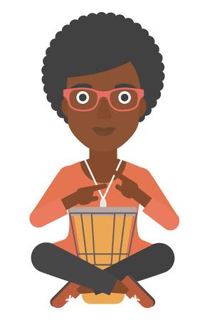 お知らせメール tomtom ベクトル フラット デザイン イラスト白い背景で隔離の再生アフリカ系アメリカ人の女性。