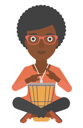 An african-american woman playing tomtom vector flat design illustration isolated on white background.
