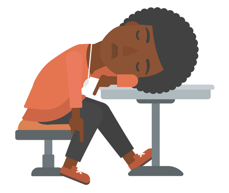 An african-american woman sleeping at the table vector flat design illustration isolated on white background. Illustration