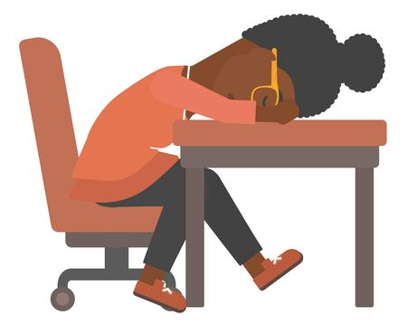 sleepy woman: An african-american woman sleeping on table vector flat design illustration isolated on white background. Illustration