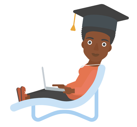 lying in: An african-american woman in graduation cap lying in chaise long with laptop vector flat design illustration isolated on white background. Illustration