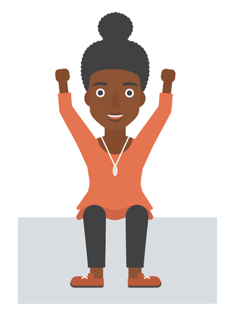 woman arms up: An african-american woman sitting with raised hands up vector flat design illustration isolated on white background.