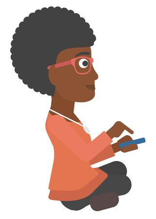 An african-american woman using mobile phone vector flat design illustration isolated on white background.