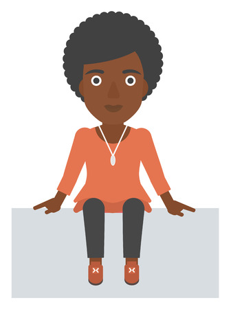 An african-american woman sitting vector flat design illustration isolated on white background. 向量圖像