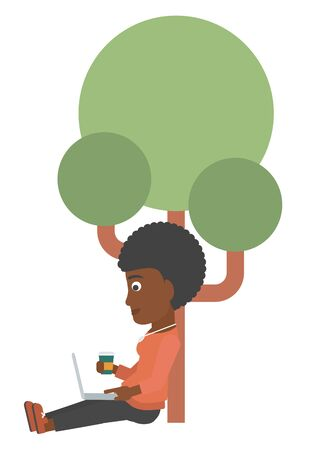 woman using laptop: An african-american woman with cup of coffee studying in park using a laptop vector flat design illustration isolated on white background. Illustration