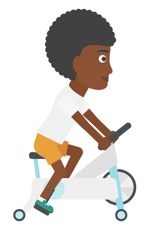 woman exercising: An african-american woman exercising on a elliptical machine vector flat design illustration isolated on white background. Illustration