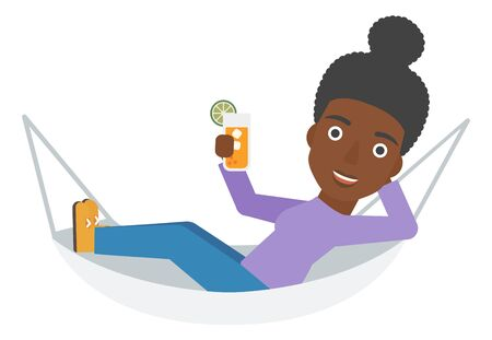 lying in: An african-american woman lying in a hammock and holding a cocktail  vector flat design illustration isolated on white background. Illustration