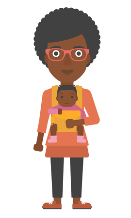 lenght: An african-american woman holding baby in sling vector flat design illustration isolated on white background.
