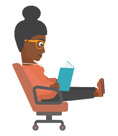 An african-american business woman sitting in chair and reading a book vector flat design illustration isolated on white background.