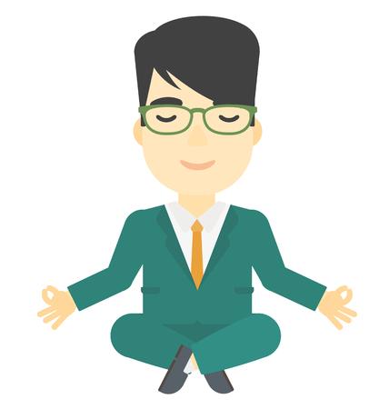 man meditating: An asian man meditating in lotus pose vector flat design illustration isolated on white background. Illustration