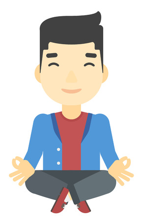 man meditating: An asian man meditating in lotus pose vector flat design illustration isolated on white background. Illustration