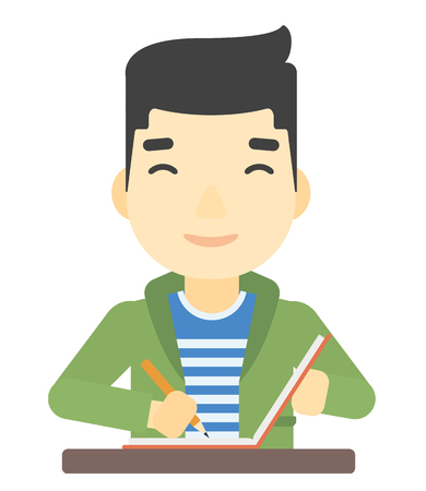 An asian man writing an article in his writing-pad vector flat design illustration isolated on white background.