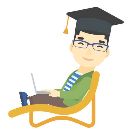 lying in: An asian man in graduation cap lying in chaise long with laptop vector flat design illustration isolated on white background. Illustration