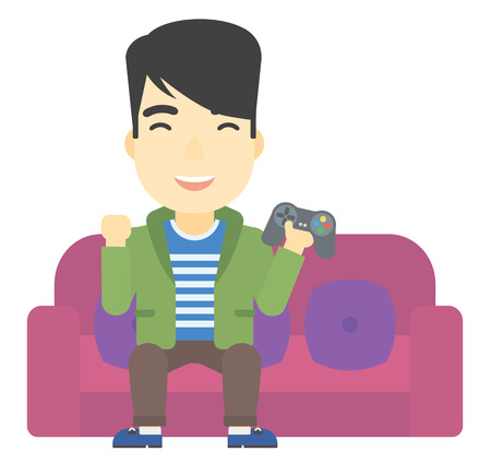 An asian man sitting on a sofa with gamepad in hands vector flat design illustration isolated on white background. 矢量图像