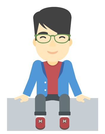 fullbody: An asian man sitting vector flat design illustration isolated on white background. Illustration