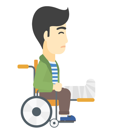 sprain: An asian man with broken leg sitting in wheelchair vector flat design illustration isolated on white background.