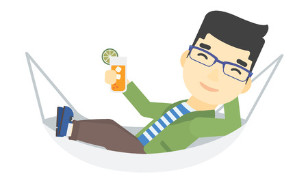 lying in: An asian man lying in a hammock and holding a cocktail  vector flat design illustration isolated on white background.