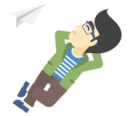 man meditating: An asian man lying on a cloud and looking at flying paper plane vector flat design illustration isolated on white background. Illustration