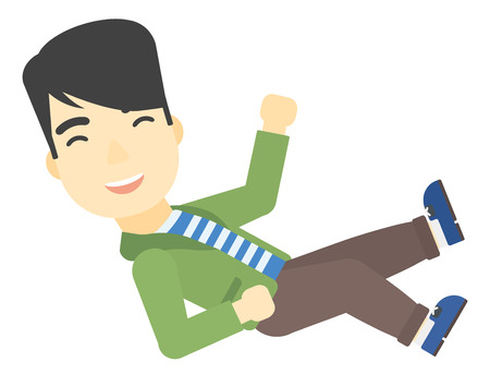 coworkers: An asian businessman get thrown into the air by coworkers during celebration vector flat design illustration isolated on white background. Illustration