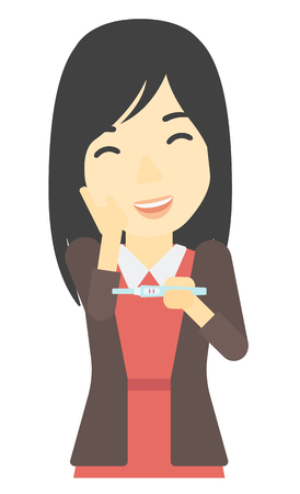 An asian delighted woman looking at positive pregnancy test vector flat design illustration isolated on white background.