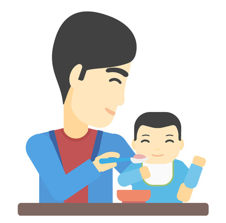 asian family: An asian man feeding baby vector flat design illustration isolated on white background.