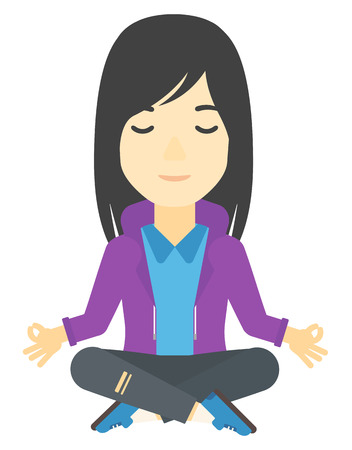 An asian business woman meditating in lotus pose vector flat design illustration isolated on white background.