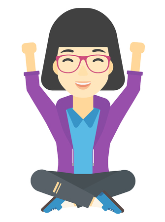 legs up: An asian woman sitting with crossed legs and raised hands up vector flat design illustration isolated on white background.