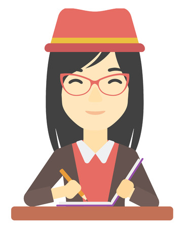 An asian woman writing an article in her writing-pad vector flat design illustration isolated on white background.