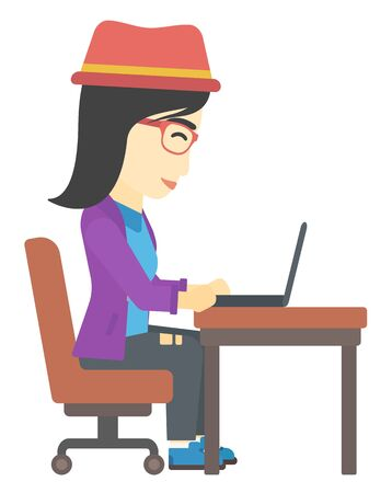 young woman sitting: An asian young woman sitting at the table and working at the laptop vector flat design illustration isolated on white background.