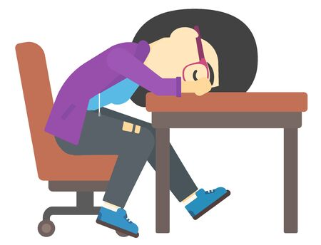 An asian tired young woman sleeping on table vector flat design illustration isolated on white background. Illustration
