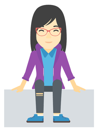 fullbody: An asian woman sitting vector flat design illustration isolated on white background.