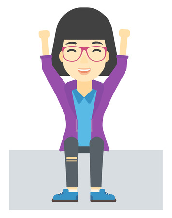woman arms up: An asian woman sitting with raised hands up vector flat design illustration isolated on white background. Illustration