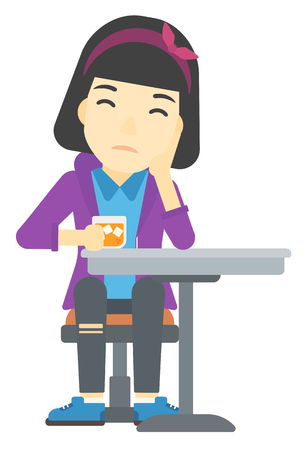 sorrowful: An asian sad woman sitting at bar with a glass of juice vector flat design illustration isolated on white background.