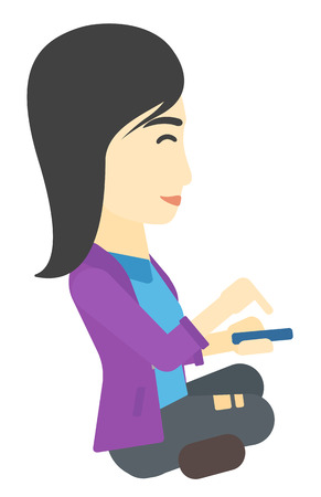 smart phone woman: An asian woman using mobile phone vector flat design illustration isolated on white background.