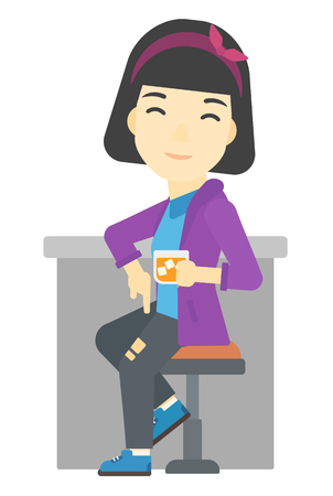 bar counter: An asian woman sitting near the bar counter vector flat design illustration isolated on white background. Illustration