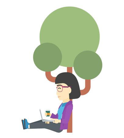 graduate asian: An asian woman with cup of coffee studying in park using a laptop vector flat design illustration isolated on white background.