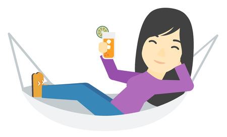 relaxed: An asian woman lying in a hammock and holding a cocktail  vector flat design illustration isolated on white background. Illustration