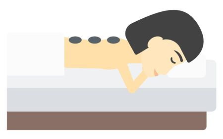 laying: An asian woman relaxing while getting stone therapy massage vector flat design illustration isolated on white background.