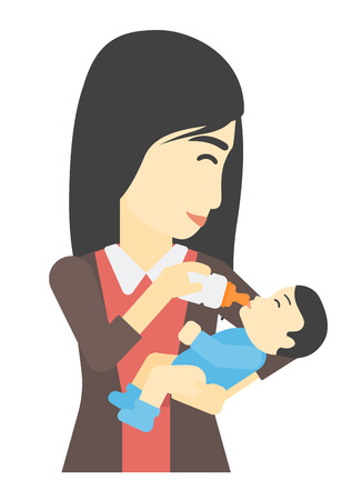 An asian woman feeding a little baby with a milk bottle vector flat design illustration isolated on white background. Illustration