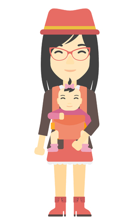 lenght: An asian woman holding baby in sling vector flat design illustration isolated on white background.