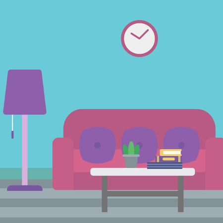 living room design: Background of living room vector flat design illustration. Square layout. Illustration