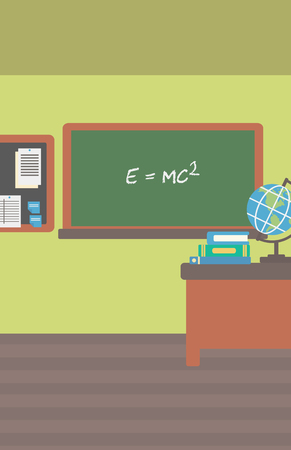 Background of classroom vector flat design illustration. Vertical layout. Ilustração