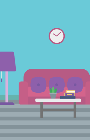 interior decoration: Background of living room vector flat design illustration. Vertical layout. Illustration
